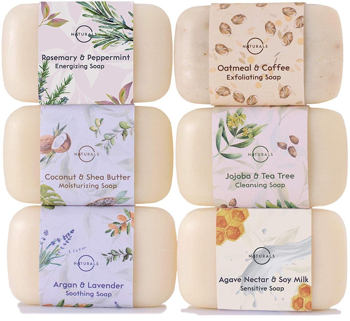 O Naturals 6 Piece Moisturizing Body Wash Bar Soap Collection