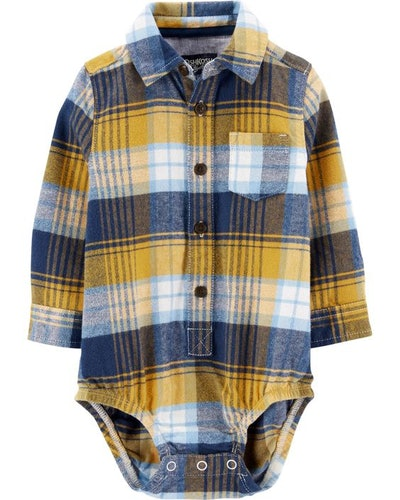 OshKosh Bigosh Plaid Flannel Bodysuit
