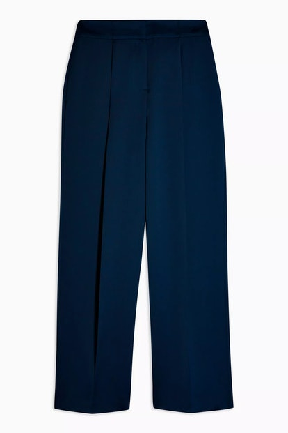 Navy Satin Wide Leg Trousers