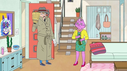 Kevin disguised as Vincent Adultman (voiced by Alison Brie) and Princess Carolyn (voiced by Amy Sedaris) in BoJack Horseman