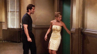 Jennifer Aniston, as Rachel Green, wearing a strapless yellow dress.
