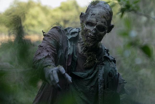 A mossy zombie on The Walking Dead