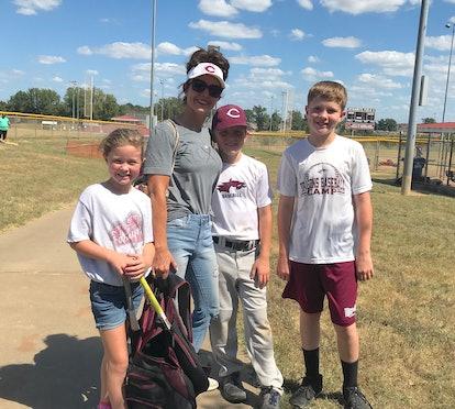 Bridgett Spillers and her kids on a baseball field.