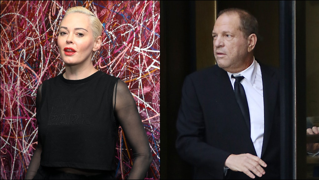 Left: The actress Rose McGowan poses in a black outfit in front of a paint-spattered background. Right: The producer Harvey Weinstein leaves a court building in New York City.