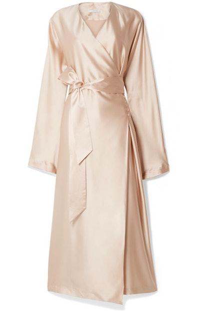 Eleni Belted Silk-Satin Wrap Dress