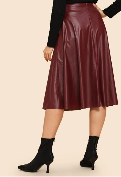 80s Wide Waistband Faux Leather Skirt