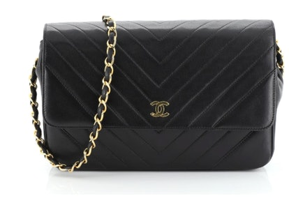 Vintage Chevron Clutch on Chain Quilted Lambskin Small