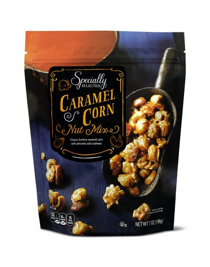 Caramel corn and nuts come together in one delicious package.