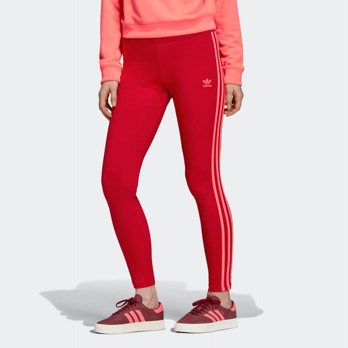 """3-Stripe Leggings in """"Scarlet"""""""