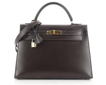 Kelly Handbag Chocolate Box Calf with Gold Hardware 32