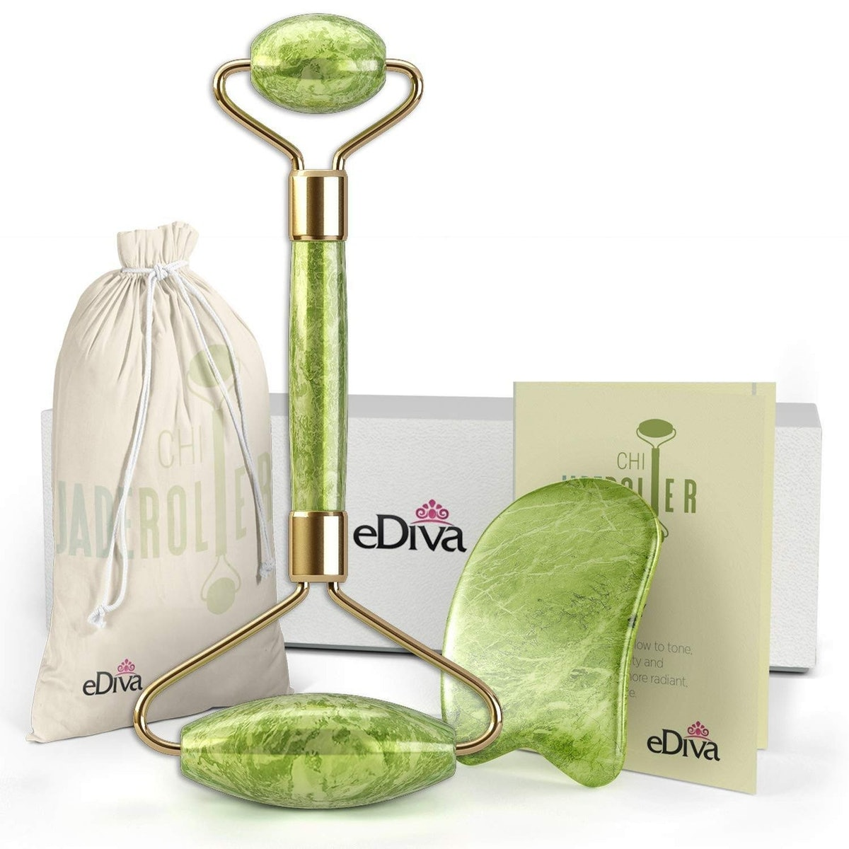 eDiva Natural Jade Roller and Gua Sha
