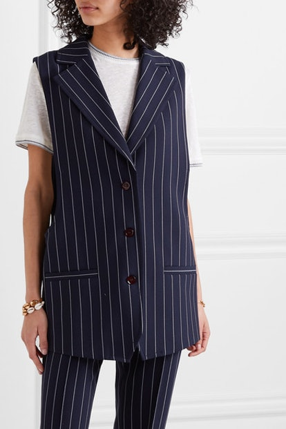 Oversized Pinstriped Cady Vest
