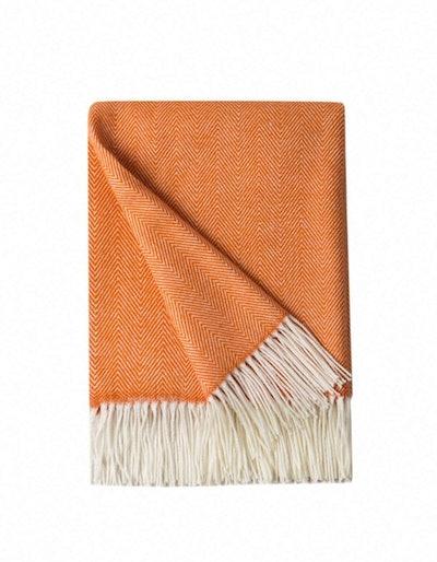 BOURINA Herringbone Faux Cashmere Fringe Throw Blanket