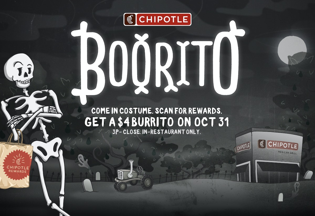 Chipotle's Halloween 2019 #Boorito TikTok Challenge means you can win free burritos for a year ifor posting your Halloween transformation.