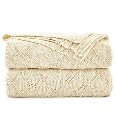 Longhui bedding Cotton Cable Knit Throw Blanket