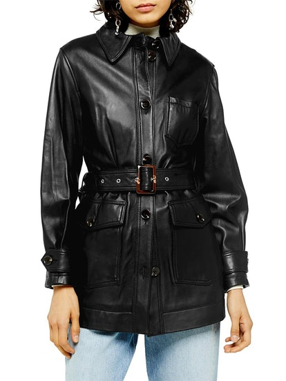Belted Leather Coat