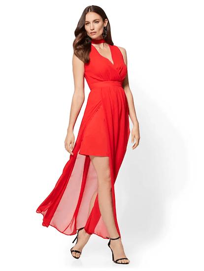 RED CHOKER MAXI DRESS