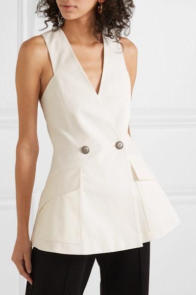 Double-Breasted Cotton-Canvas Peplum Vest