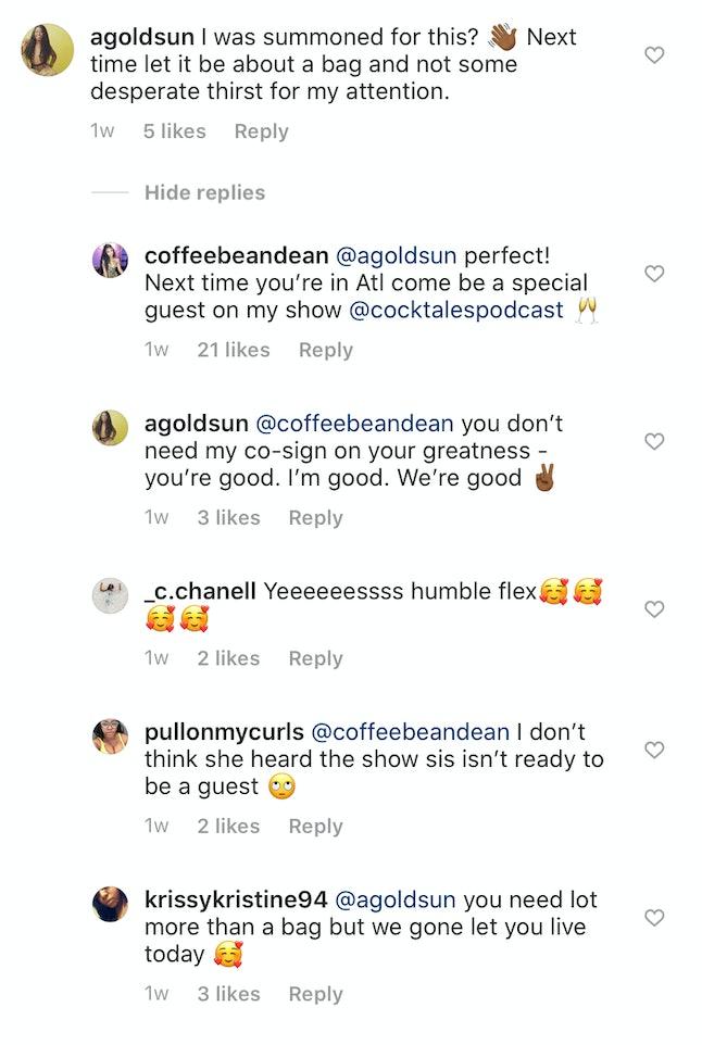 An Instagram exchange between Temptation Island stars Medinah and Ashley G.