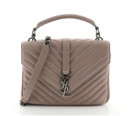 Classic Monogram College Bag Matelasse Chevron Leather Medium