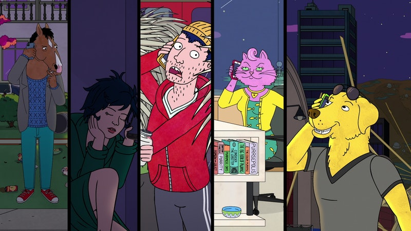 BoJack Horseman (voiced by Will Arnett), Diane (voiced by Alison Brie), Todd (voiced by Aaron Paul), Princess Carolyn (voiced by Amy Sedaris), and Mr. Peanutbutter (voiced by Paul F. Tompkins) in BoJack Horseman Season 6 Part 1