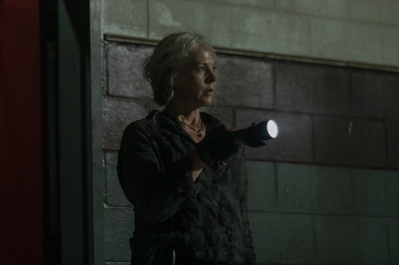 Melissa McBride as Carol Peletier searches for the Whisperers on The Walking Dead.