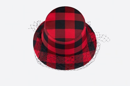 Teddy D Check'N'Dior Small-Brim Bucket Hat with Veil