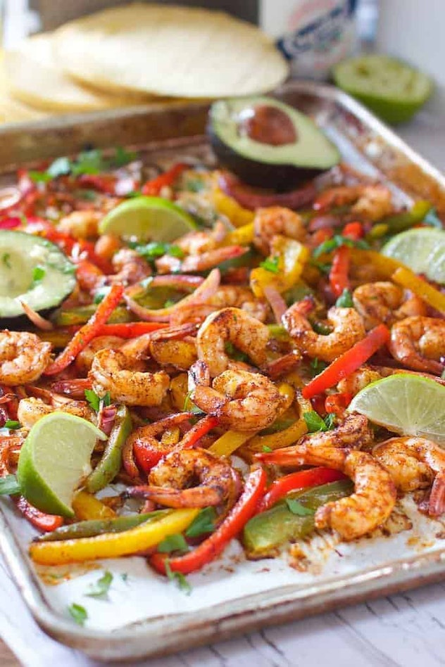 Sheet pan shrimp fajita recipe