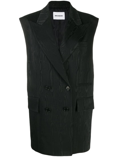 Long Double-Breasted Moiré Waistcoat