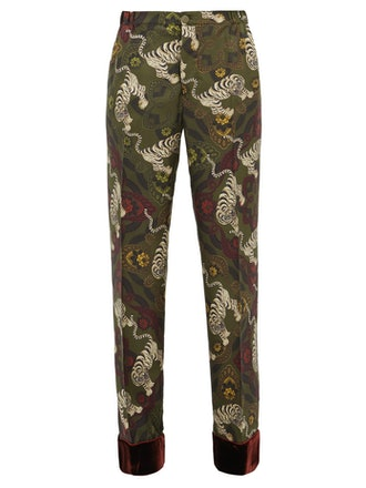 Etere Tiger-Print Velvet Trimmed Trousers