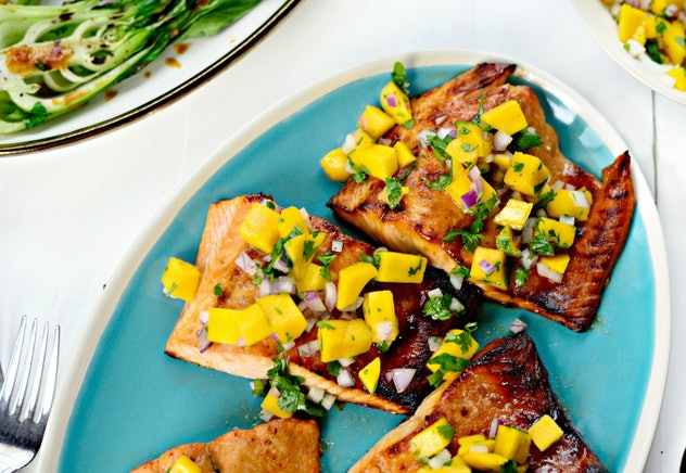 honey glazed salmon with a fresh and simple mango salsa recipe from Simply Scratch is a light and yummy dinner idea
