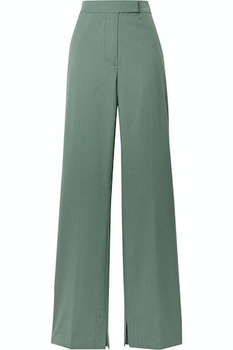 Wool-Blend Crepe Flared Pants
