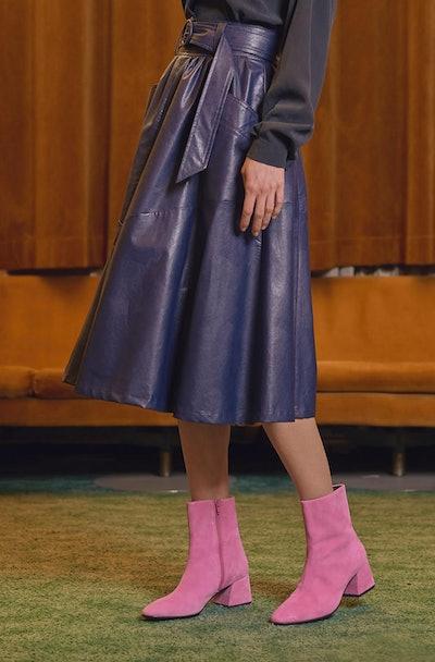 Tomcsanyi Hunslet Midnight Blue Vegan Leather Midi Skirt
