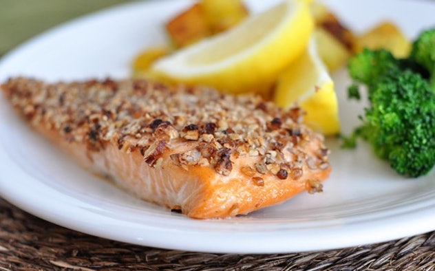 Maple pecan crusted salmon from Mel's Kitchen Cafe is a sweet and savory meal