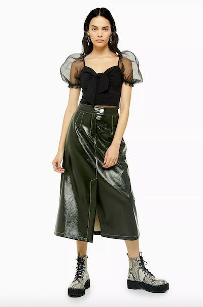 A-Line Faux Leather Vinyl Midi Skirt