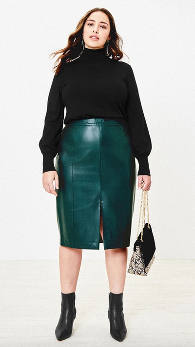 Curve Faux Leather Skirt
