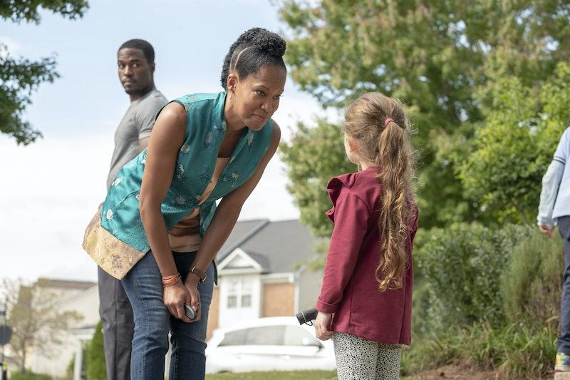 Cal Abar (Yahya Abdul-Mateen II), Angela Abar (Regina King), and Emma Abar (Adelynn Spoon) in HBO's Watchmen