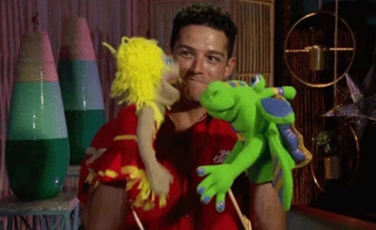 Wells Adams with puppets on 'Bachelor in Paradise'