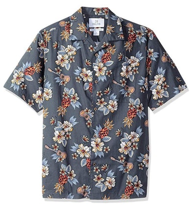 28 Palms Men's Relaxed-Tropical Hawaiian Shirt in Blue Guitar Floral