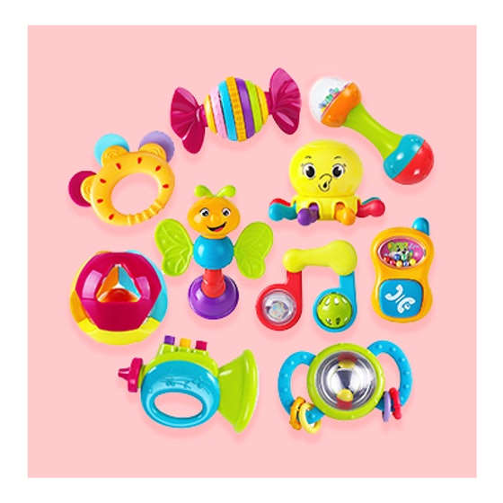 iPlay iLearn 10-Piece Baby Rattles Musical Toy Set (3m+)