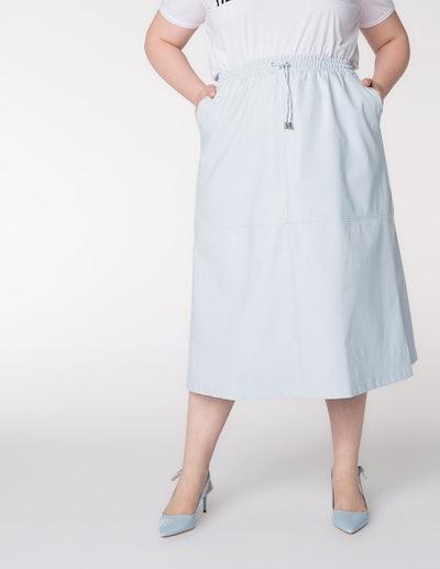 Elvi A-Line Faux Leather Skirt