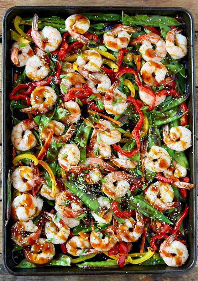 Sheet pan shrimp stir fry recipe