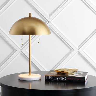 """Ella 20.7"""" Dome Metal with Marble Base LED Table Lamp"""