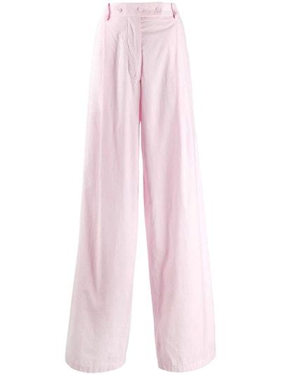 Wide-Leg Button-Waist Trousers