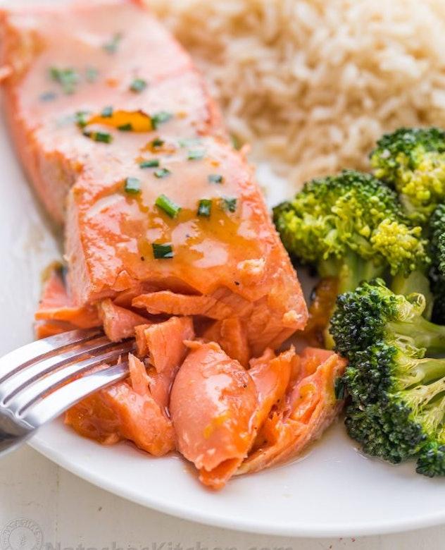 Apricot Dijon Salmon and broccoli recipe from Natasha's kitchen has a range of sweet and savory flavors