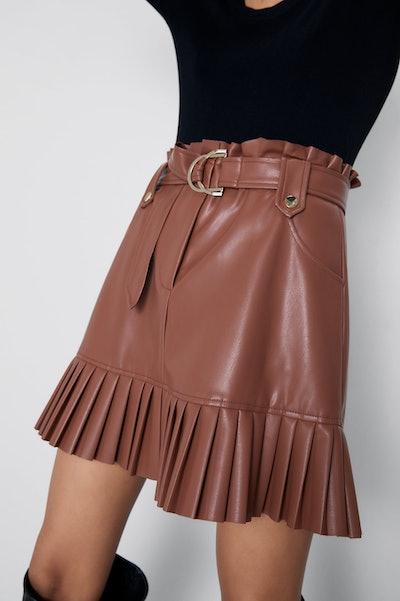 Pleated Faux Leather Mini Skirt