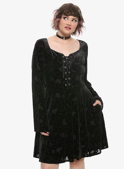 Her Universe Hocus Pocus Icon Velvet Bell Sleeve Dress