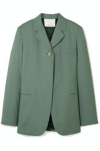 Wool-Blend Crepe Blazer