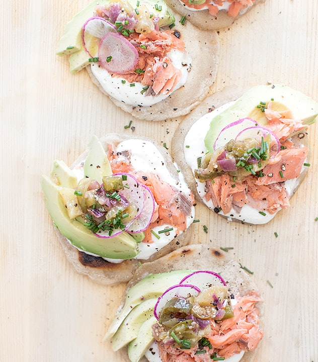 The salmon tostada tomatillio salsa recipe from What's Cooking Good Looking creates a beautiful, healthy meal