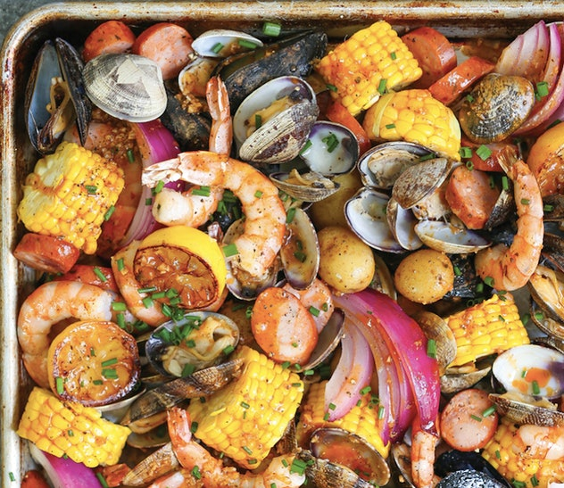 Sheet pan clam bake recipe contains shrimp.